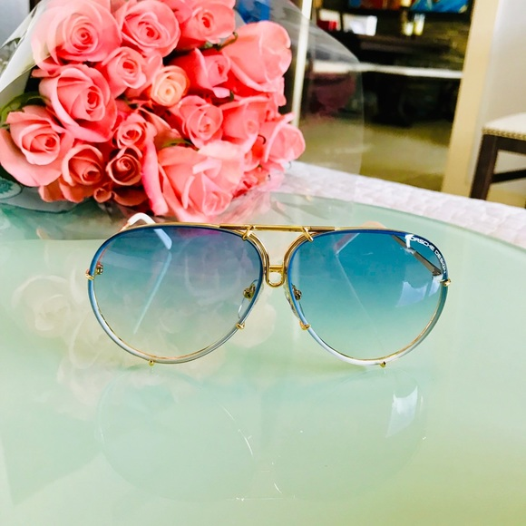 01168e53d284 NWT Porsche Design 69 P8478 W Blue Gold Sunglasses